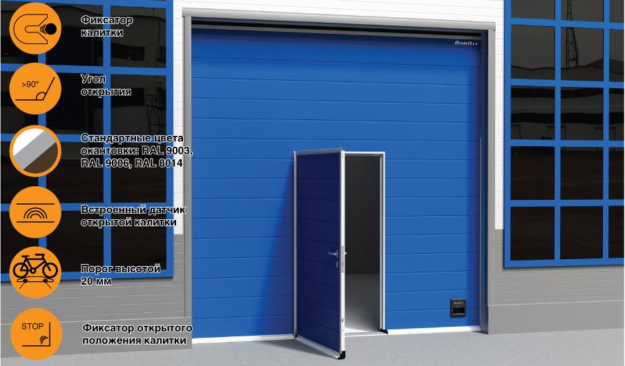 калитка DoorHan в промышленных воротах